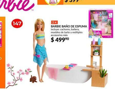 Oferta de Muñecas Barbie baño de espuma por $499.9