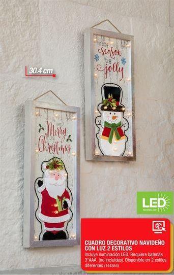 Oferta de Cuadro Decorativo Navideño con luz 2 estilos por