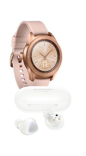 Oferta de Samsung Galaxy Watch 42mm color Rosa + Galaxy Buds Plus Blancos por $7499