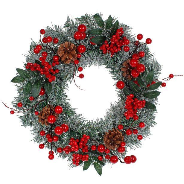 Oferta de  Corona Navidad Decorada 40cm 1pz por $418.9