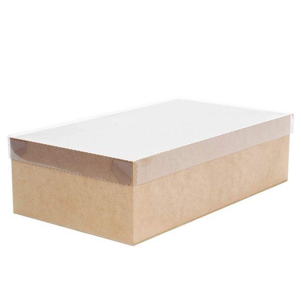 Oferta de  Caja Con Tapa Transparente Natural 10x35x20cm 1pz por $97.25