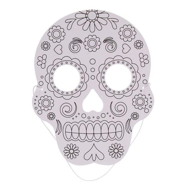 Oferta de  Mascara Para Pintar Calavera 21x16.5cm 8pz por $35.35