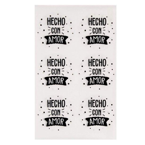 Oferta de  Calcomanía Hecho Con Amor 4.5cm 12pz por $17.55