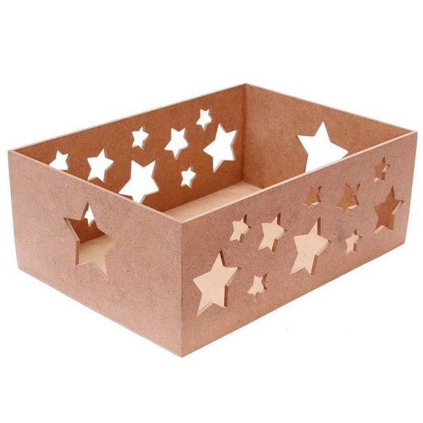 Oferta de  Huacal Con Estrellas 15x39x28cm 1pz por $107.3