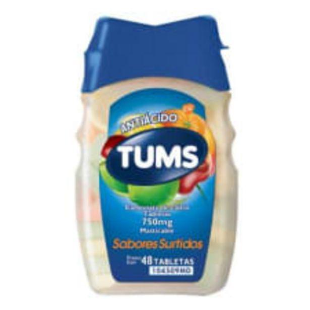 Oferta de Antiácido Tums 750 mg 48 tabletas masticables sabores surtidos por $59.5