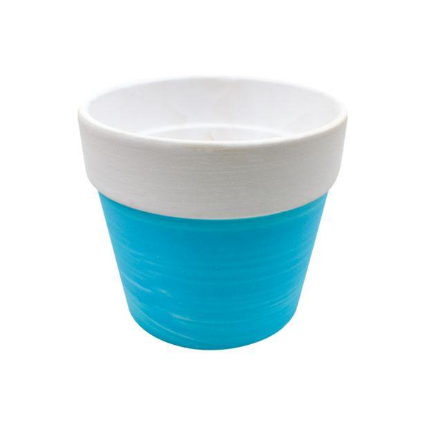Oferta de Maceta Pizarra Cerámica Azul por $29.99