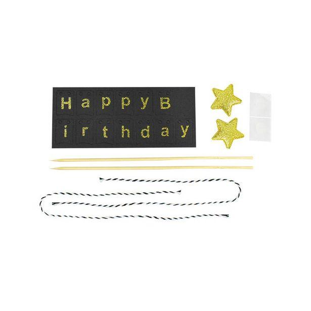 Oferta de Banner decorativo color Negro para Pastel de Cumpleaños por $24.99