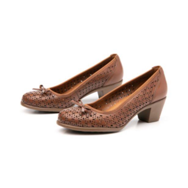 Oferta de Zapato De Tacón Para Oficina Flexi 15421 Con Perforado Láser Y Moño  Para Mujer - Estilo 15421 Tan por $509.4