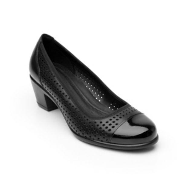 Oferta de Zapato De Tacón Para Oficina Flexi 15422 Con Perforado Láser Y Puntera Charol  Para Mujer - Estilo 15422 Negro por $424.5