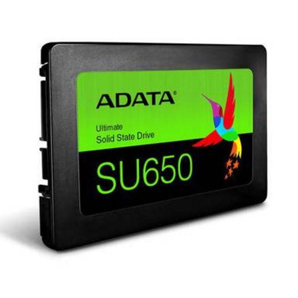 """Oferta de Unidad de Estado Solido SSD ADATA SU650, 120GB, Serial ATA III 6 Gb/s, Lectura 520 MB/s, Escritura 450 MB/s, 2.5"""" (ASU650SS-120GT-R) por $659.9"""
