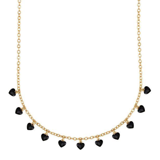 Oferta de Collar En Acabado Dorado Con Mini Corazones Facetados Color Negro por $783