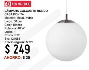 Oferta de Lámpara colgante Casa Bonita por $249