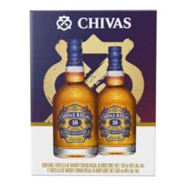 Oferta de Whisky Chivas Regal 18 Años de 750 ml + 1 pza de 500 ml por $1175.43