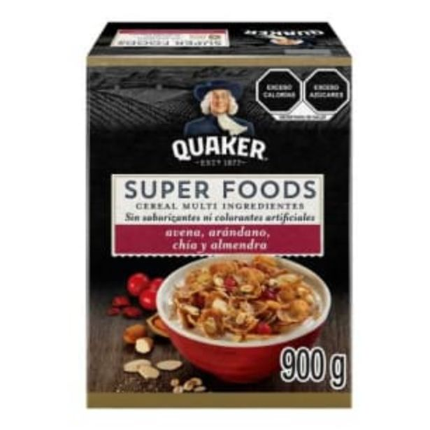 Oferta de Cereal Quaker Super Foods Arándano 900 g por $97.08