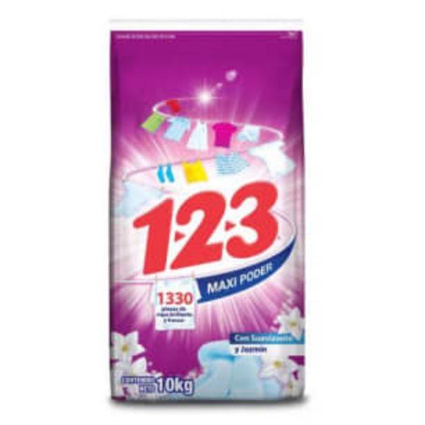 Oferta de Detergente en Polvo 1.2.3 con Suavizante y Jazmín 10 kg por $168