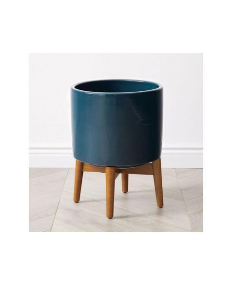 Oferta de Maceta Mid-Century Turned Wood Azul por $3749.25