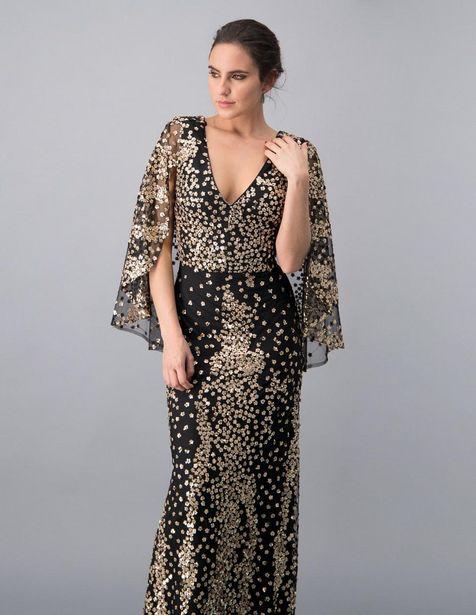 Oferta de Vestido de noche Ivonne Couture color oro texturizado por $2799.2