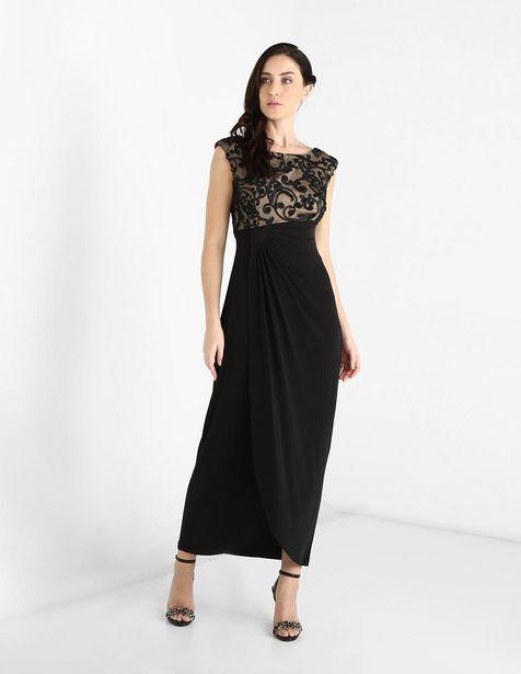 Oferta de Vestido de fiesta Connected Apparel negro cuello redondo por $1039.2