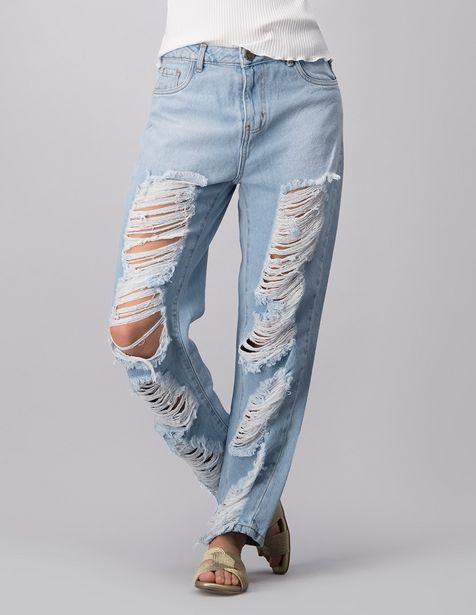 Oferta de Jeans amplio Ivonne destruido cintura para mujer por $679.15