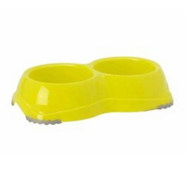 Oferta de Plato Doble Perro Antideslizante Smarty 645ml Limon H107-329 por $120