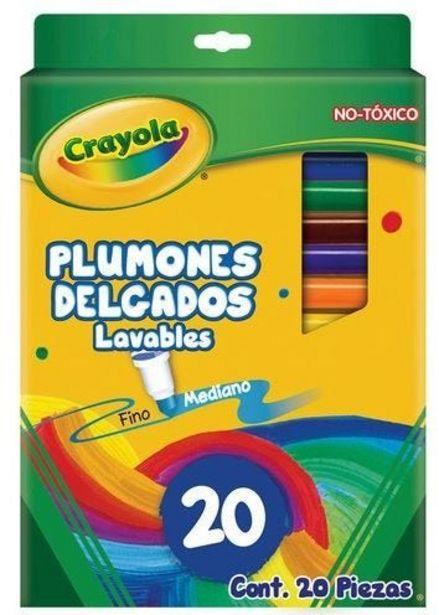 Oferta de Plumones c/20 lavables delgado Crayola por $111.5