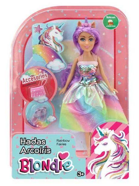 Oferta de Muñeca Blondie 10206 Hadas Arcoíris Morado 10206 por $119.4