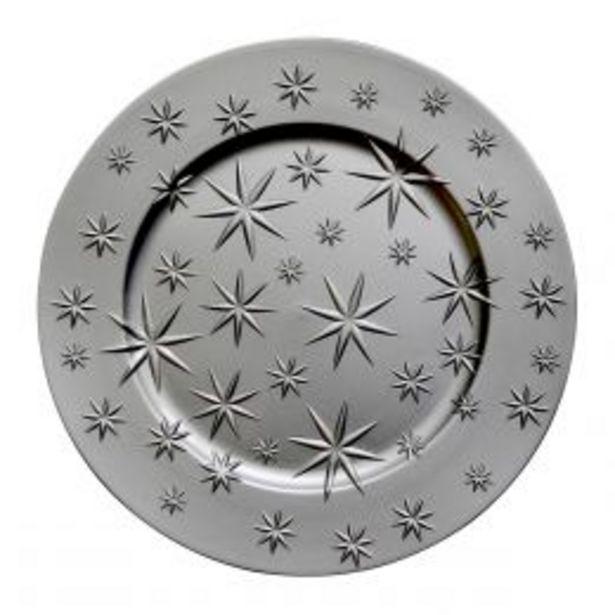 Oferta de Plato Base De Plástico 33 Cm Plateado Con Estrellas por $44