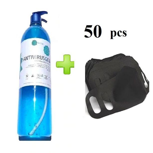 Oferta de Cubrebocas Grado Medico Ajustable Negro 50 Pcs +1L Gel Antibacterial por $400
