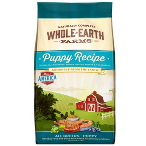 Oferta de Whole Earth Farms Alimento Natural para Perro Cachorro Receta Pollo, 11.3 kg por $700