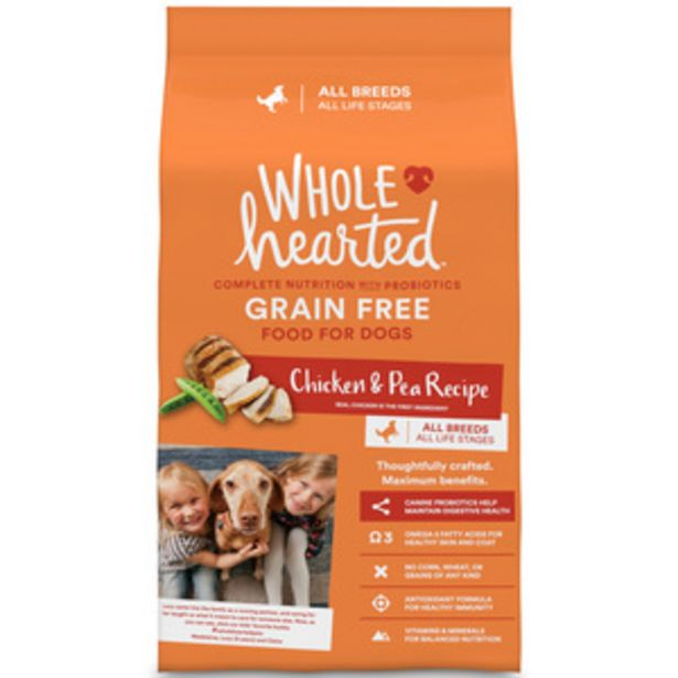Oferta de WholeHearted Libre de Granos Alimento Natural para Perro Todas las Edades Receta Pollo y Chícharo, 11 kg por $960
