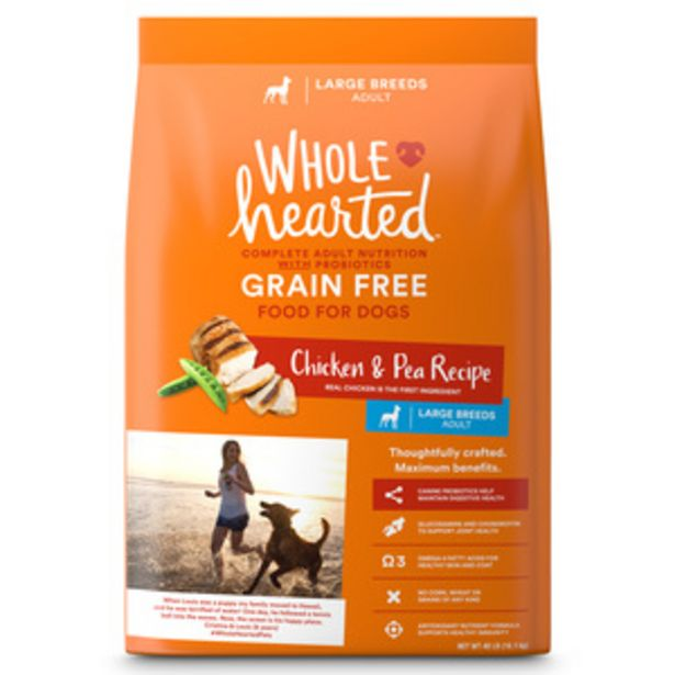 Oferta de WholeHearted Libre de Granos Alimento Natural para Perro Adulto Raza Grande Receta Pollo y Chícharo, 18 kg por $1400