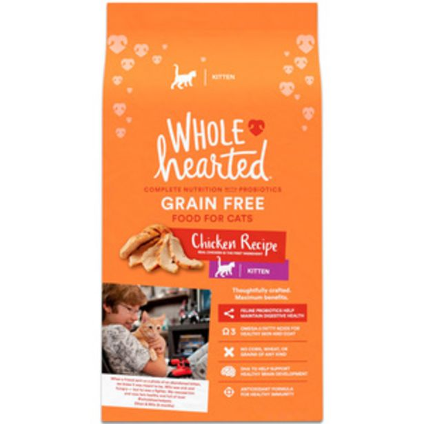 Oferta de WholeHearted Libre de Granos Alimento Natural para Gatito Receta Pollo, 2.2 kg por $264