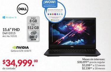 """Oferta de Laptop Dell 15,6"""" FHD por $34999"""