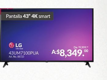 "Oferta de Smart tv led 43"" 4K LG por $8349"