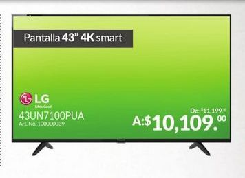 "Oferta de Smart tv led 43"" 4K LG por $10109"