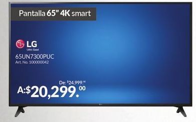 "Oferta de Smart tv led 65"" 4K LG por $20299"