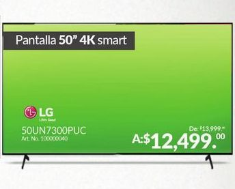 Oferta de Smart tv led 50'' 4K LG por $12499