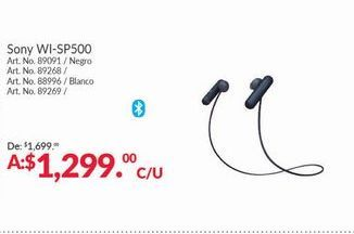 Oferta de Audifonos bluetooth WI SP500 Sony por $1299