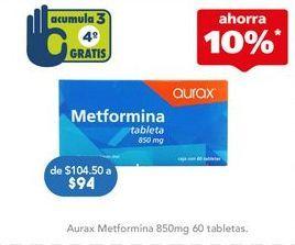 Oferta de Medicamentos Metformina por $94