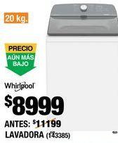 Oferta de Lavadoras Whirlpool por $8999