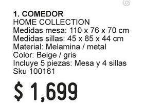 Oferta de Comedores Home Collection por