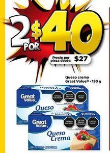 Oferta de 2x Queso cremoso Great Value por $40