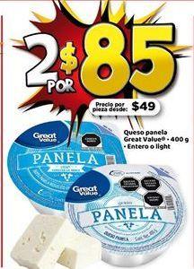 Oferta de 2x Queso panela Great Value por $85
