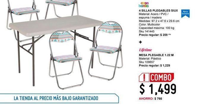 Oferta de Silla plegable Casa Bonita + mesa plegable por $1499