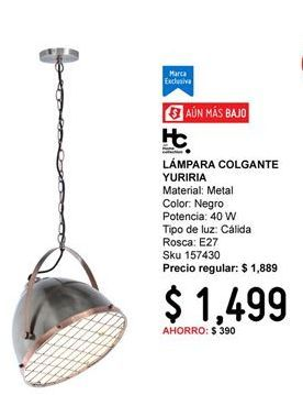Oferta de Lámpara colgante Home Collection por $1499