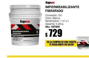 Oferta de Impermeabilizante fibrato blanco topex grantia 5 años por $729