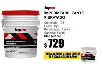 Oferta de Impermeabilizante fibrato rojo topex por $729