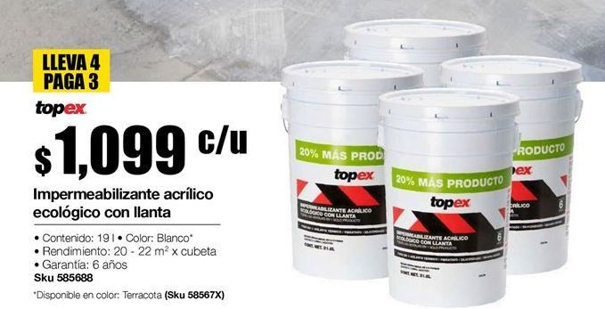 Oferta de Impermeabilizante topex acrilico aeologico con llanta por $1099