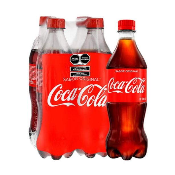 Oferta de Refresco Coca Cola original pack 4 botellas de 600 ml c/u por $64