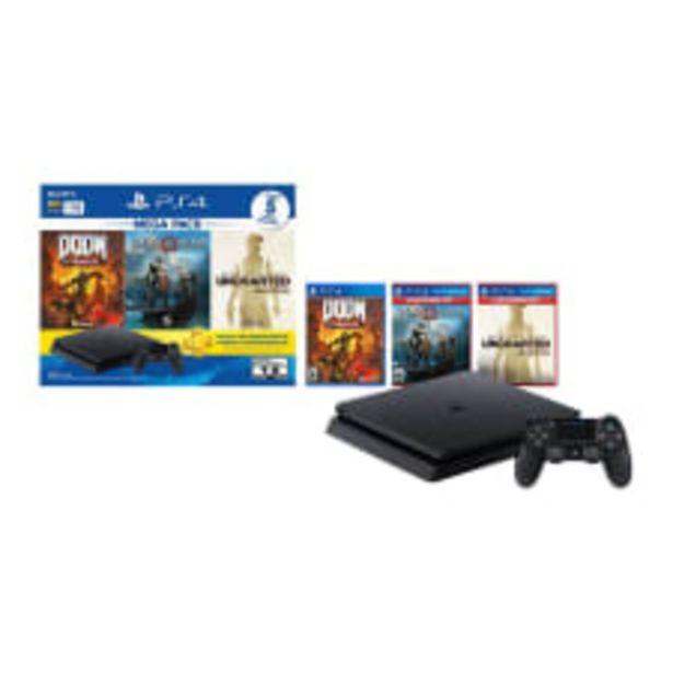 Oferta de Consola PlayStation 4 1TB más 3 Videojuegos Hits 14 por $6590